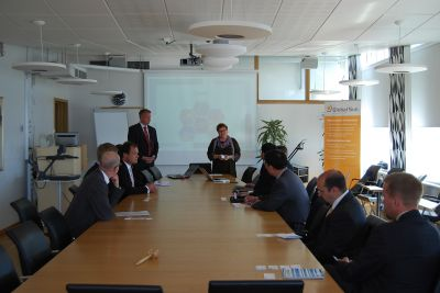 Vice President of Luleå Council municipality giving a presentation.